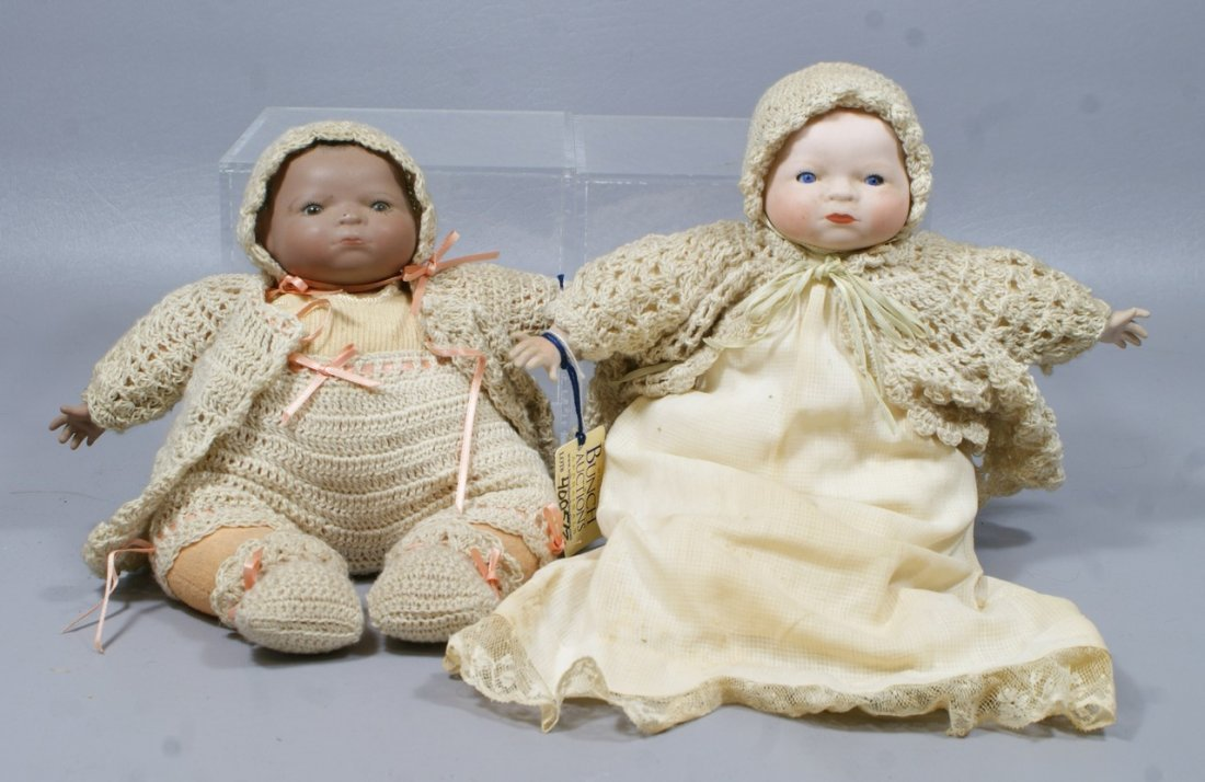 2 Reproduction Bye-Lo dolls, larger has white bisque an