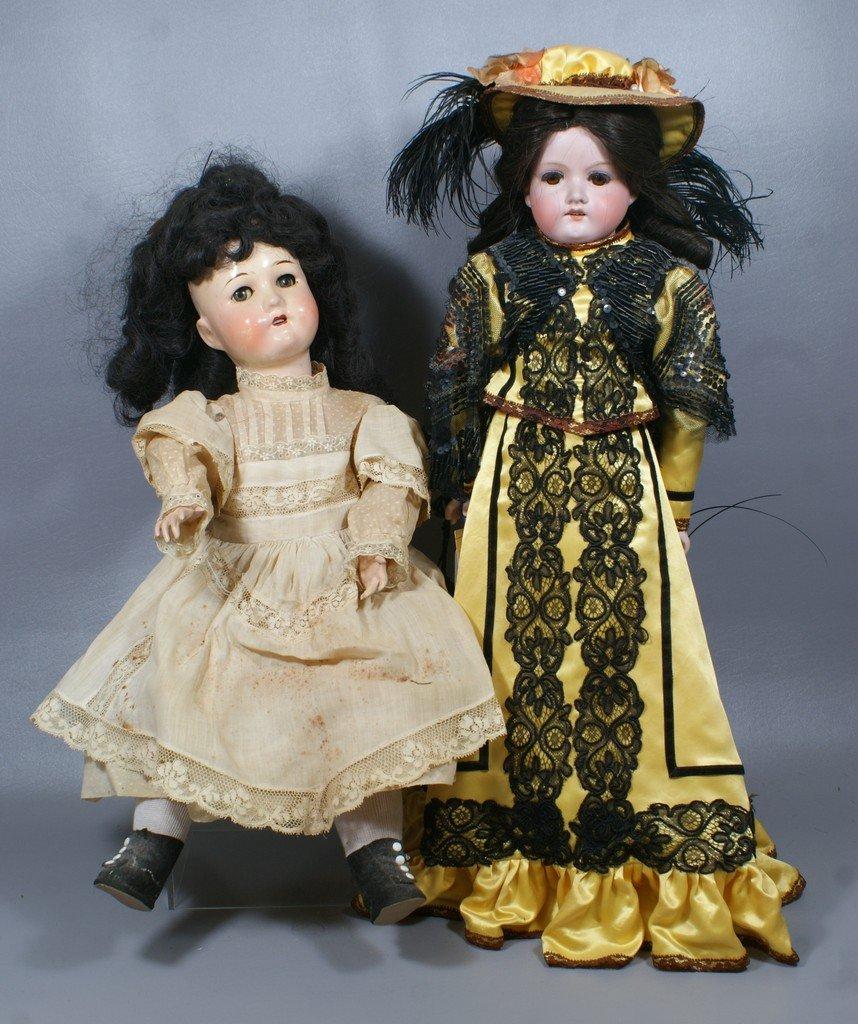 "2 German Dolls, one bisque shoulder head  incised ""AM 3"