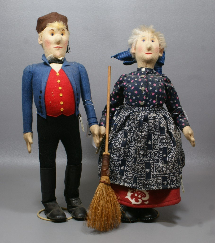 Pair of Steiff man and woman dolls, complete with tags