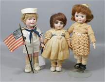 3 Bisque Artist Dolls, 2 wide-eyed reproductions of Ger