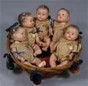 Set of 5 Madame Alexander Dionne Quintuplet babies, all