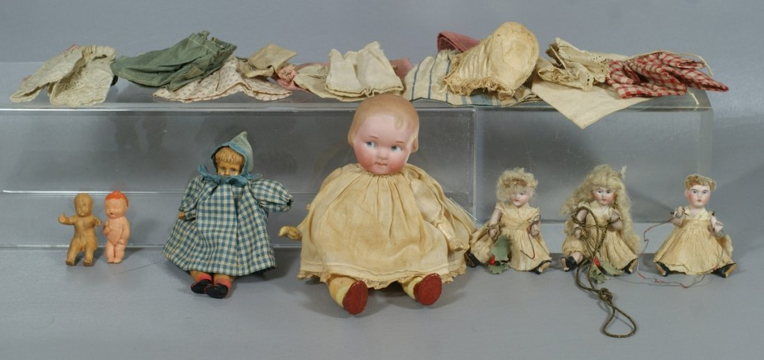 7 Miniature Dolls and Accessories to include a German b