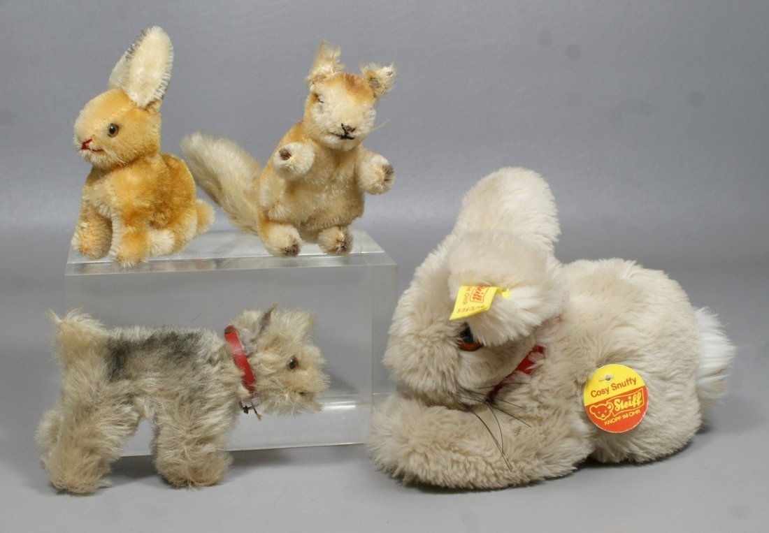 "4 Steiff Animals, ""Cosy Snuffy"" (with ear tag, button a"