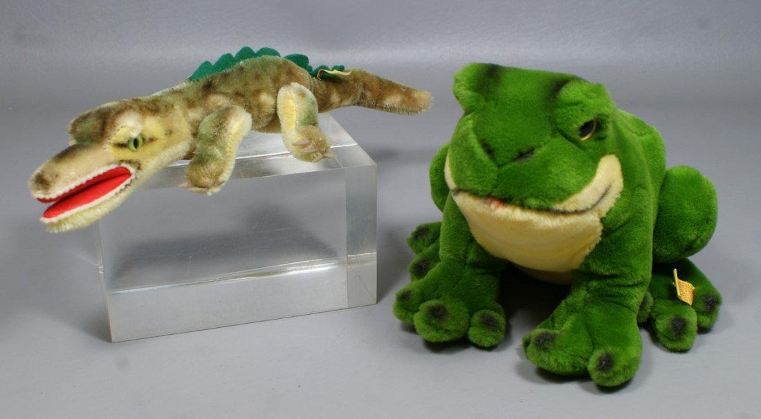 """2 Steiff Animals, """"Gaty"""" the alligator (with ear tag, b"""
