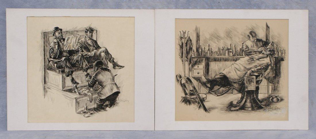 Richard Baldwin, American, PA, b 1920, (2) pen and ink