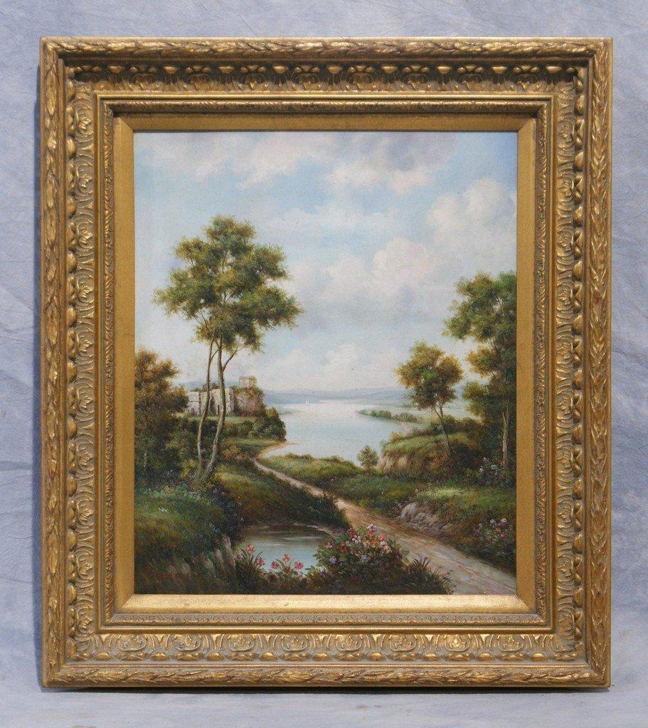 "J Didley, American, 20th c, o/c, lake landscape, 24"" x"
