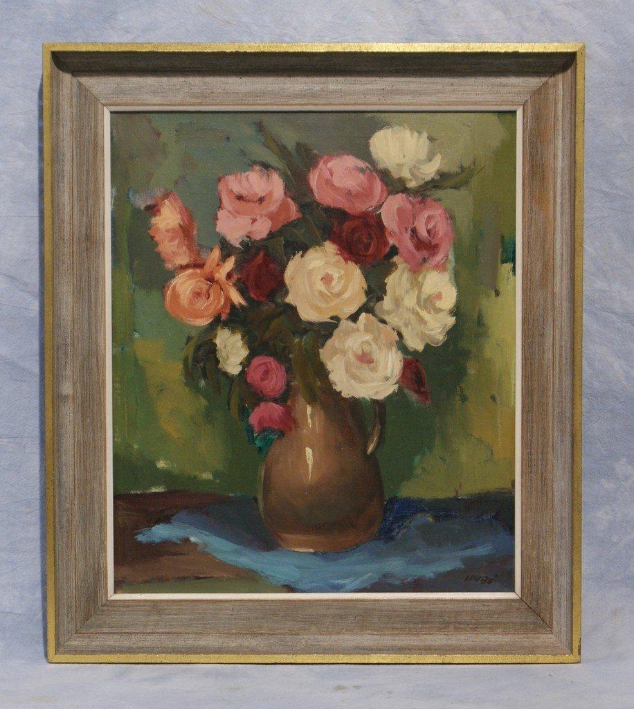 "Loube, American, 20th c, o/c, floral still  life, 24"" x"