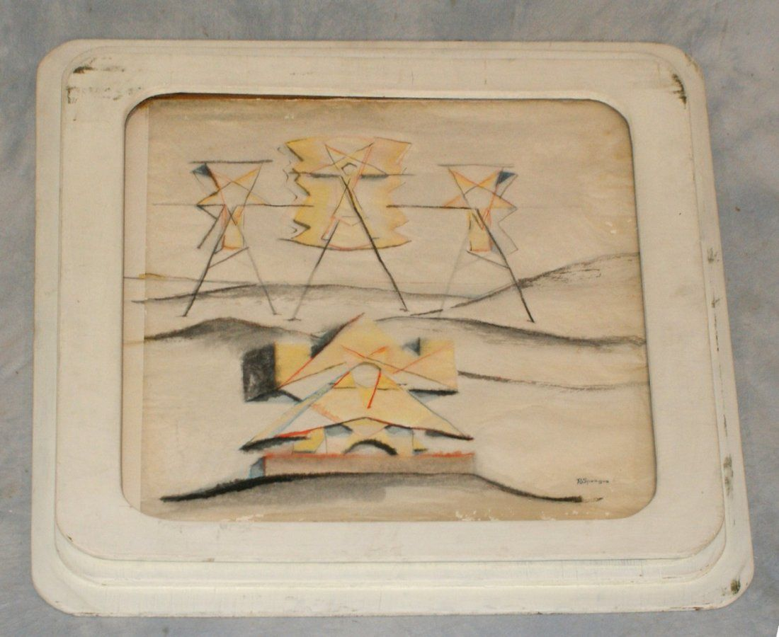 Ruth Sprague, American, 20th c, w/c and pencil, Geometr