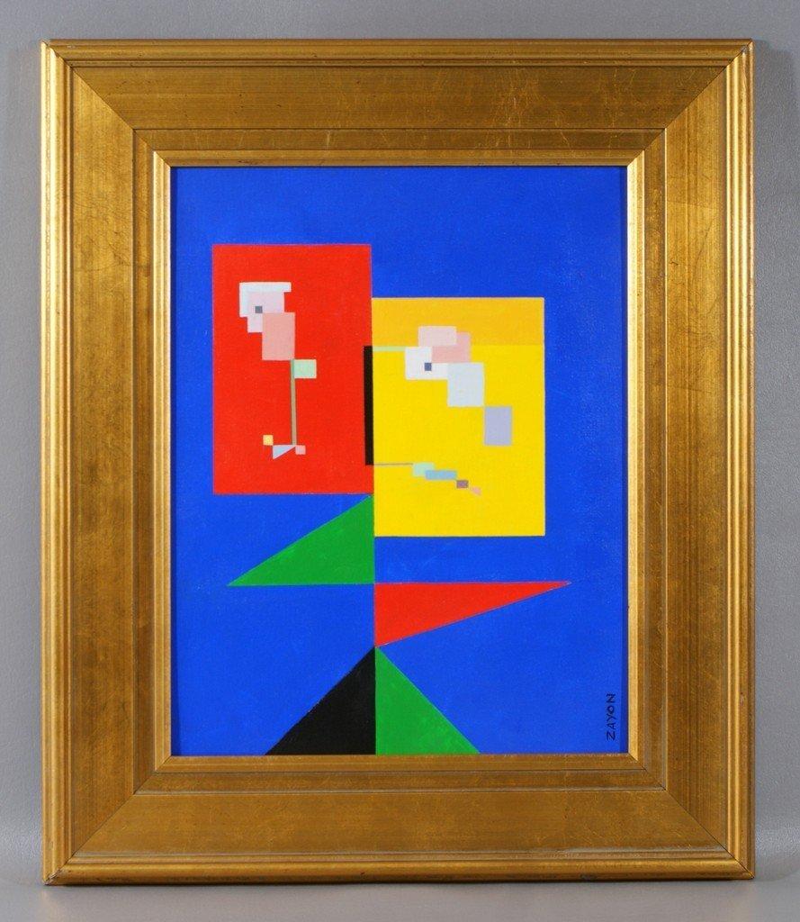 Seymour Zayon, American, 1930, acrylic on canvas board,