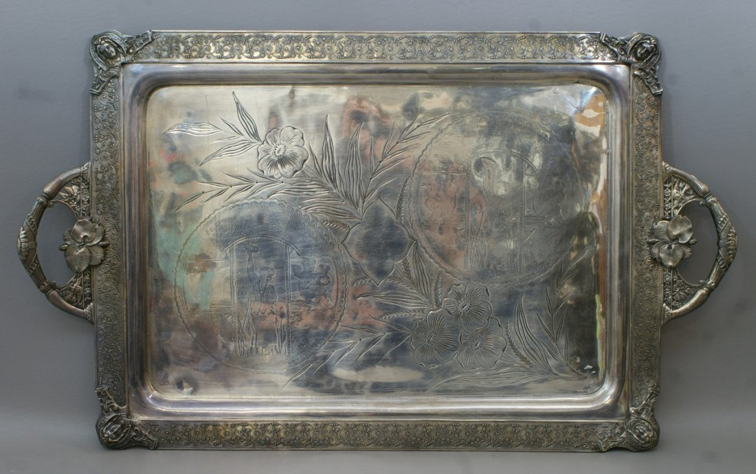 Plated silver Aesthetic style tray, ladies heads at eac