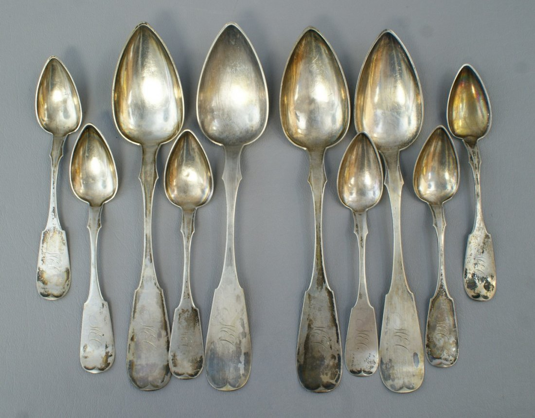 (10) American coin silver spoons by H Kennedy & Sons, P