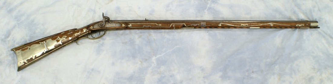 Silver inlaid Kentucky rifle, WH Folger, Barnesville, O - 2