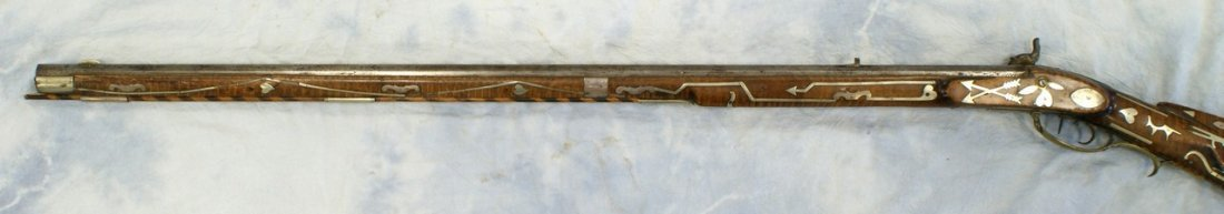 Silver inlaid Kentucky rifle, WH Folger, Barnesville, O - 4
