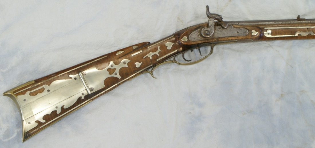 Silver inlaid Kentucky rifle, WH Folger, Barnesville, O - 5