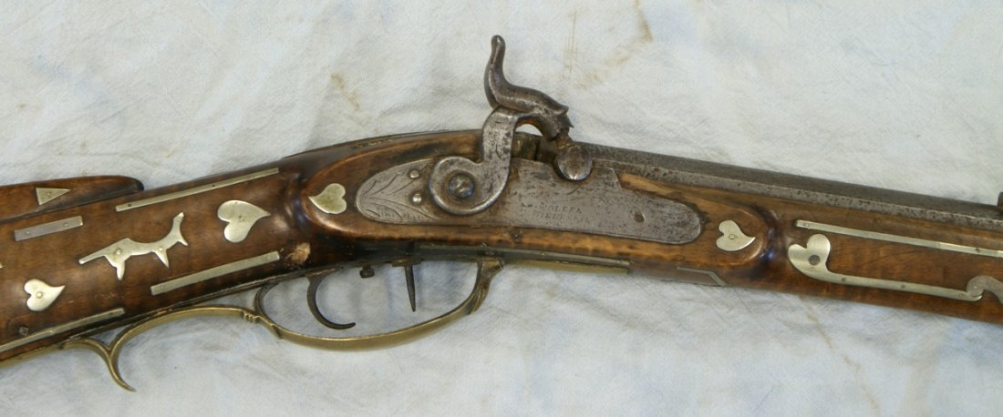 Silver inlaid Kentucky rifle, WH Folger, Barnesville, O - 6