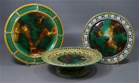 (3) pcs Wedgwood majolica, 2 plates, one in the Stanley