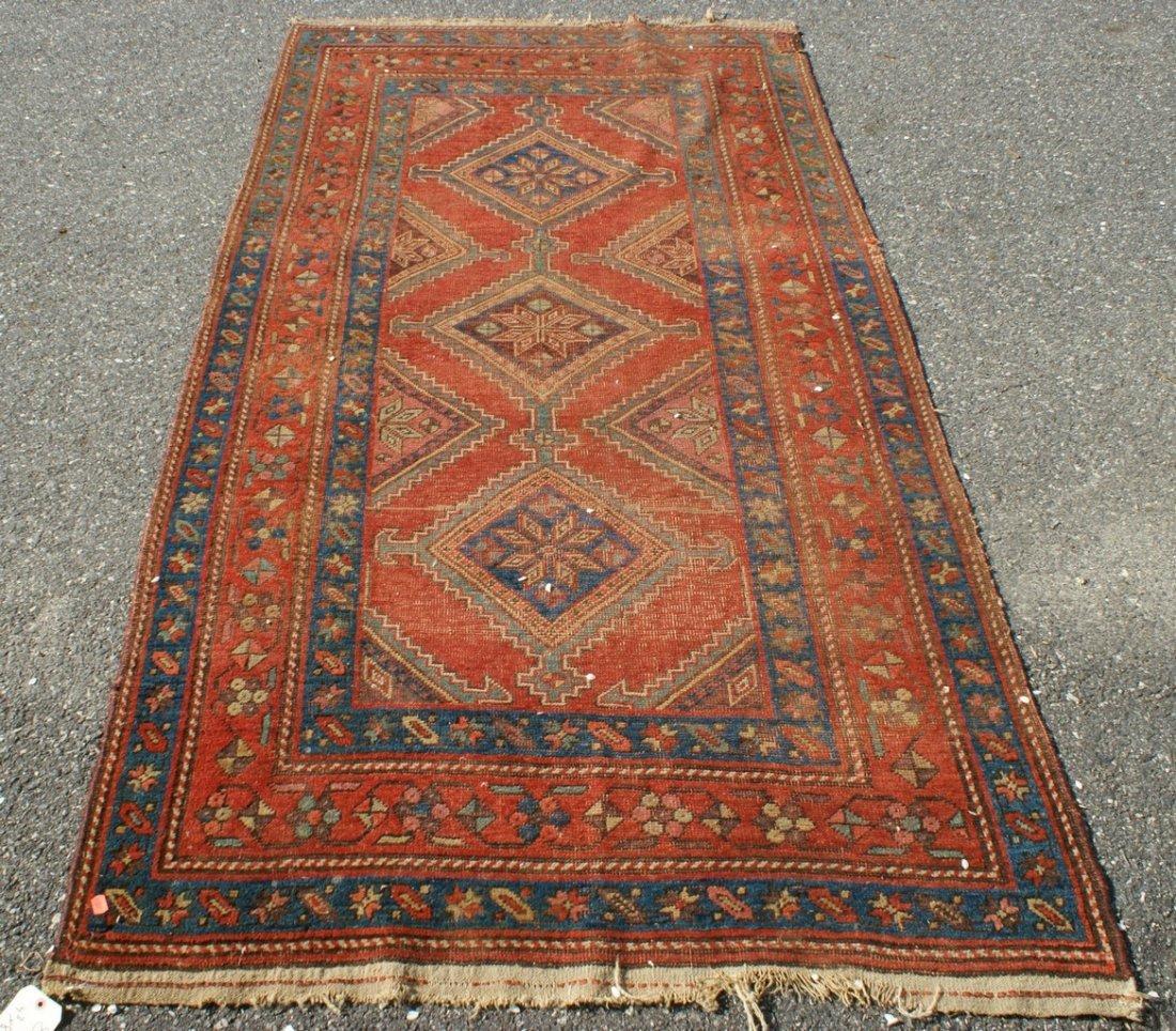 "4'3"" x 8' Turkish carpet, wear"
