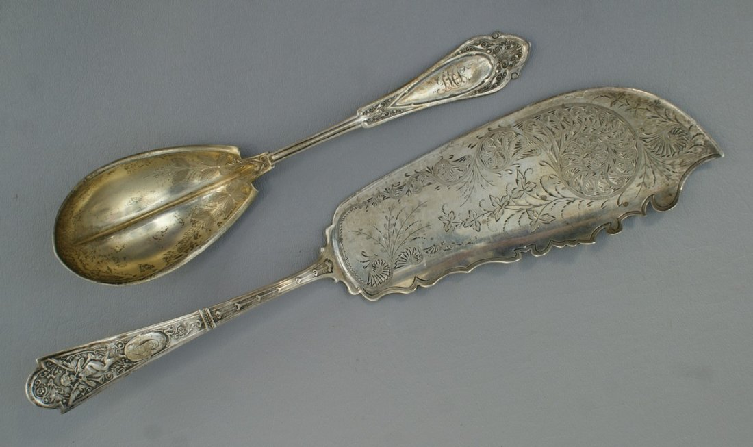 Cupid pattern sterling fish server by Albert Coles, NY,