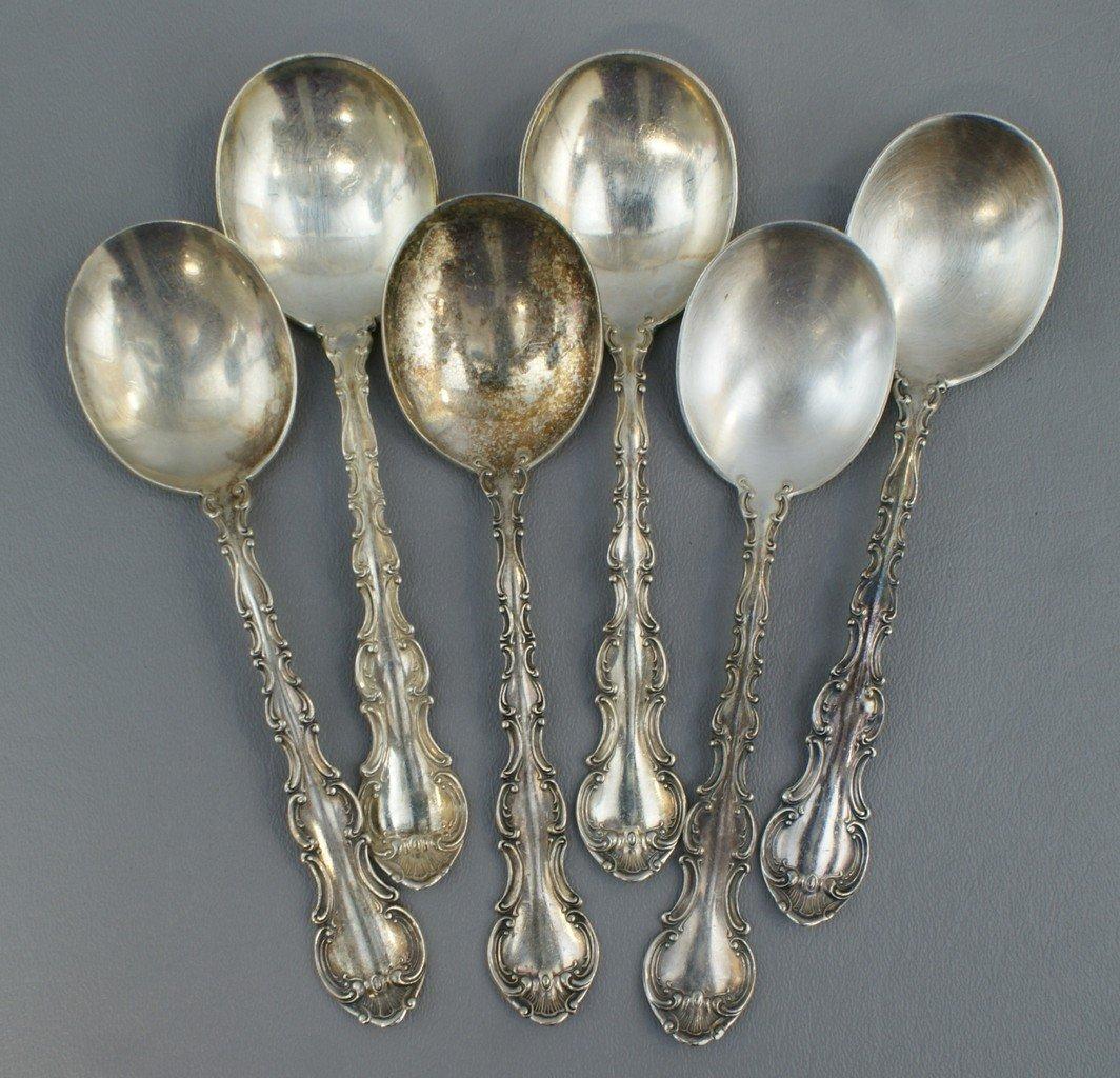 (6) Gorham Chantilly pattern sterling silver soup spoon
