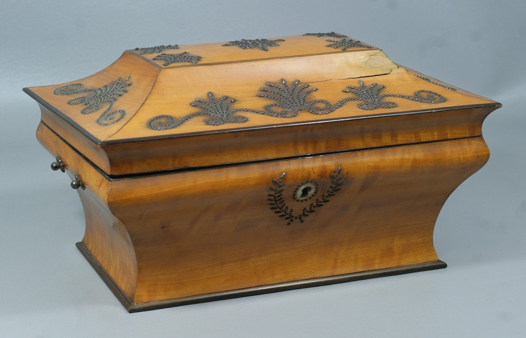 French bead mounted satinwood ladies necessaire, fitted