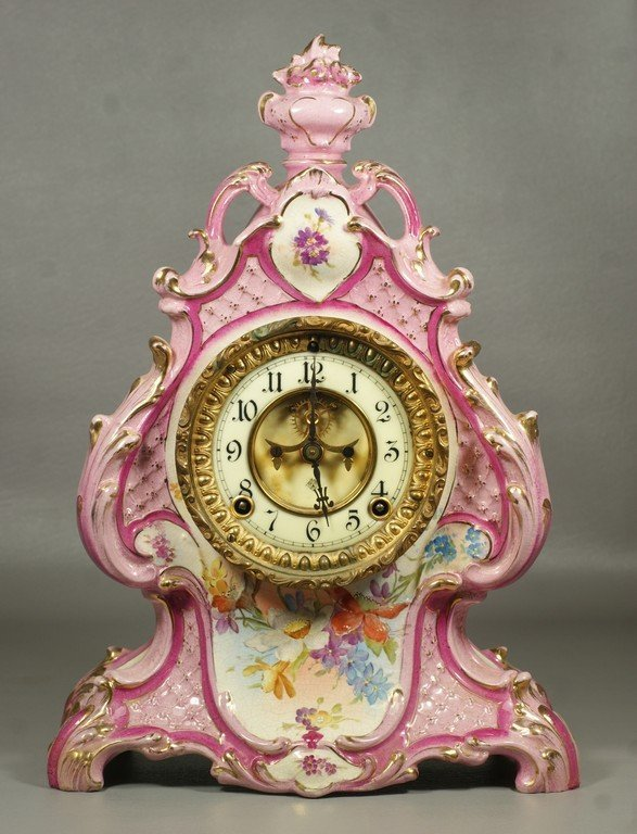 Ansonia Royal Bonn  china case clock, pink rococo