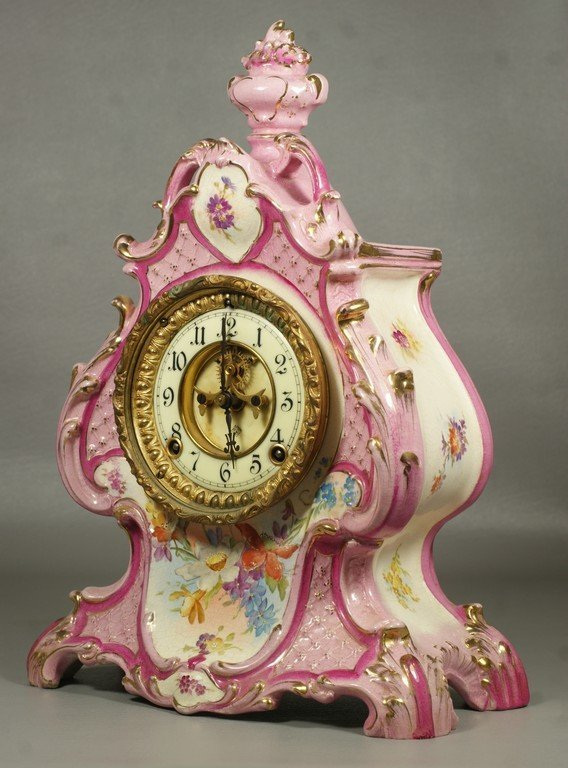 Ansonia Royal Bonn  china case clock, pink rococo - 3