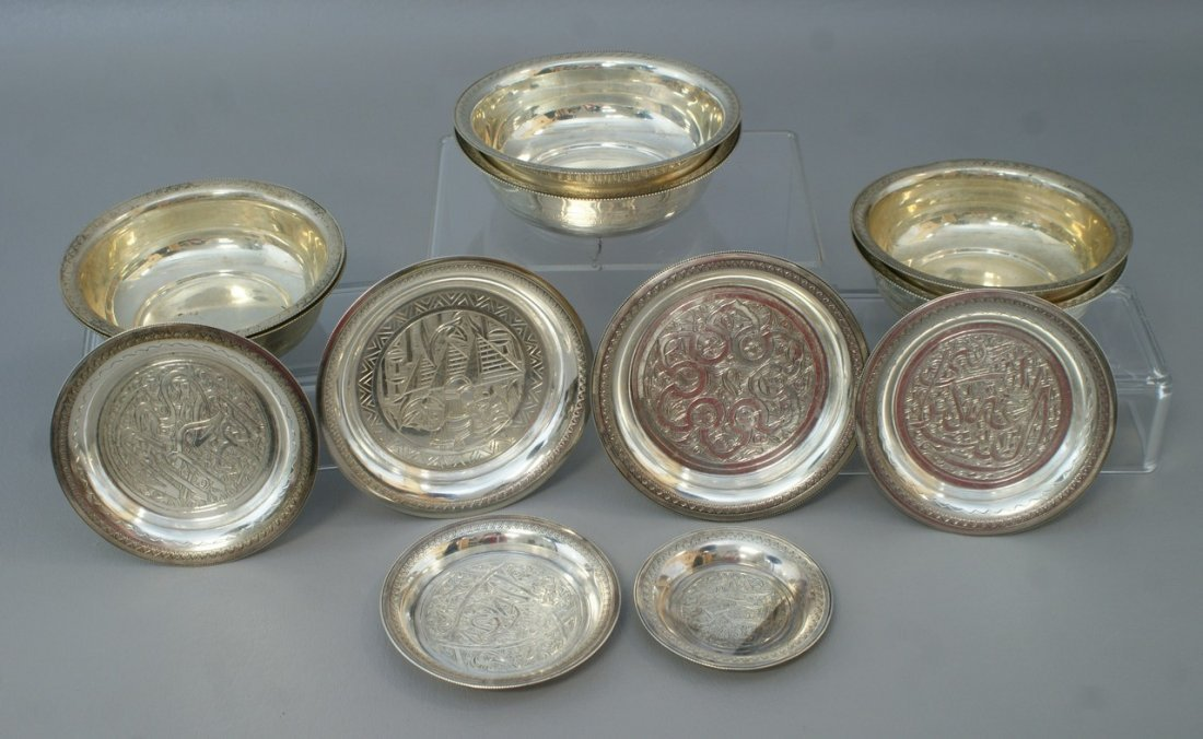 (6) silver bowls and (6) small plates with engraved and