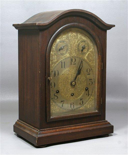 German mahogany Westminster Chime mantle clock, Kienzle