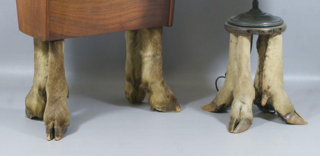 Table lamp and magazine rack with deer hoof foot bases, - 2