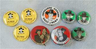 (9) Hopalong Cassidy pin back buttons, including