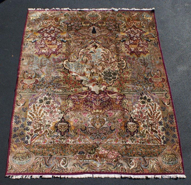 "Indo-Tabriz hunt theme carpet, 10' x 12'11"""