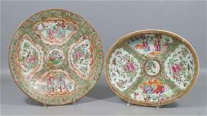 2 pcs of Chinese Export Porcelain Rose Medallion