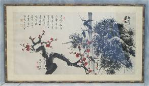 Framed Chinese Painted Scroll, depicting plum and pine