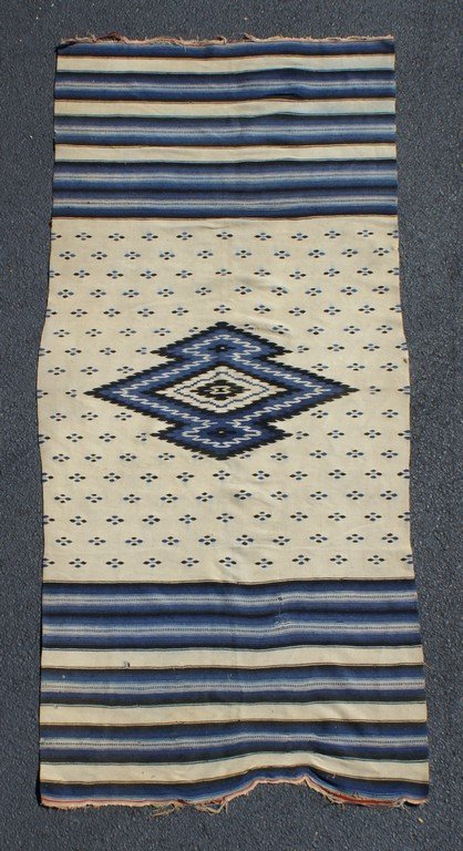 """3'3"""" x 7'4"""" Native American rug, blue and cream, some"""