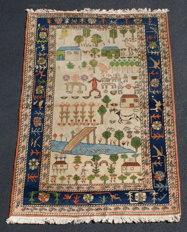 """5'6"""" x 7'10"""" pictorial rug with figures and houses"""
