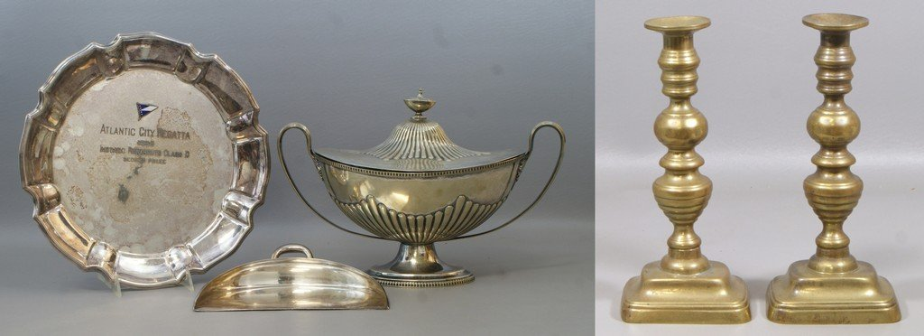 (3) Silverplated pieces to include Sheffield covered