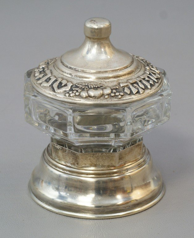 Judaica clear glass honey pot with silver lid marked 84