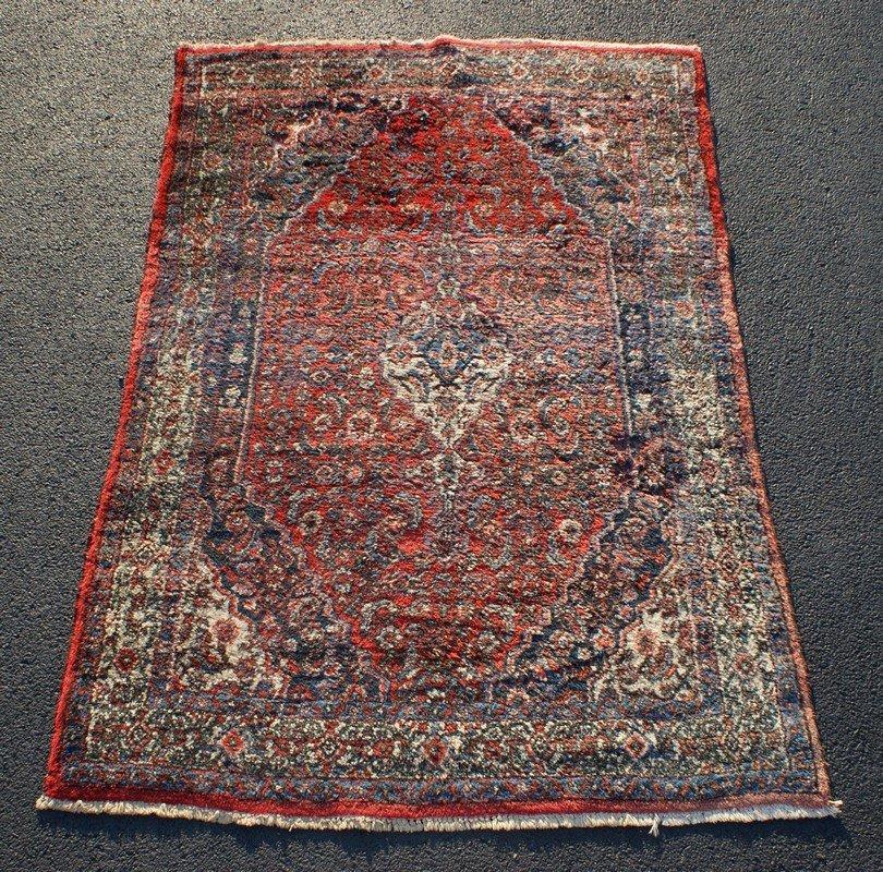 "Hamadan Carpet, 4'8"" x 6'8"" , some moth damage"
