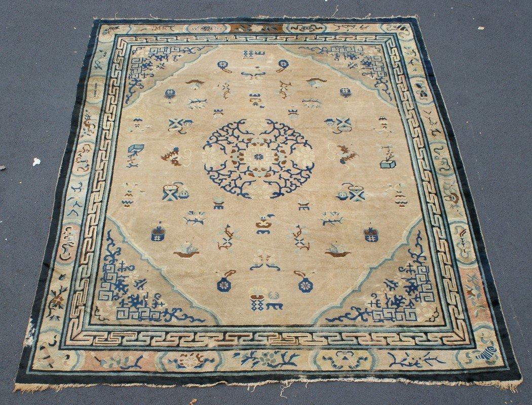 "Center Medallion Chinese Carpet, worn, 10' x 11'5"""
