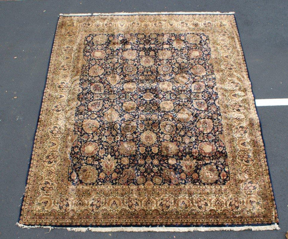"Keshan Deep Blue Field Carpet, 8' x 10'2"""