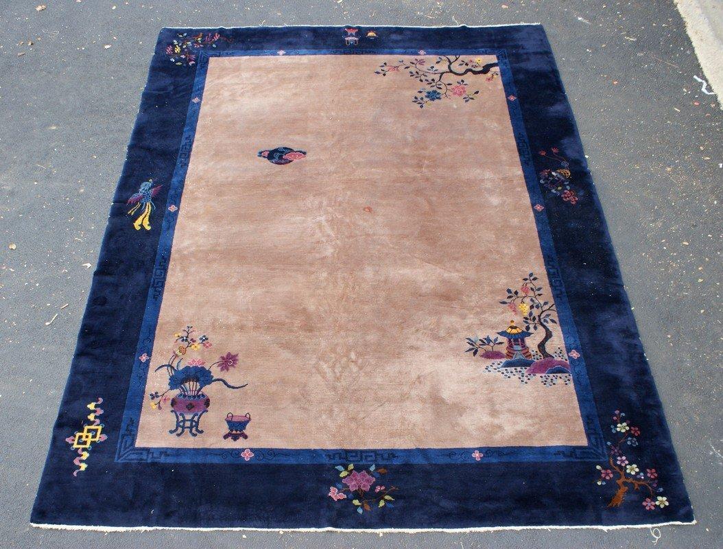 Peking Chinese Carpet, open café au lait field (some