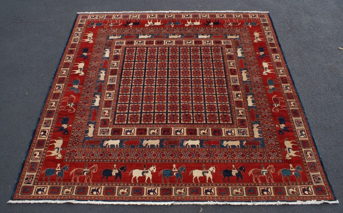 Persian Pictorial Carpet, 3 borders with stylized