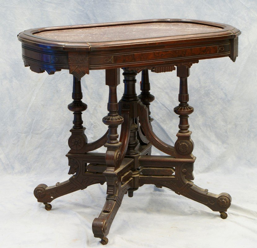 Walnut Victorian Eastlake Marble Top Table With Picture