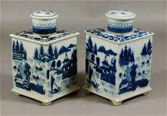 Pair of Chinese Export Canton pattern tea caddys, 20th