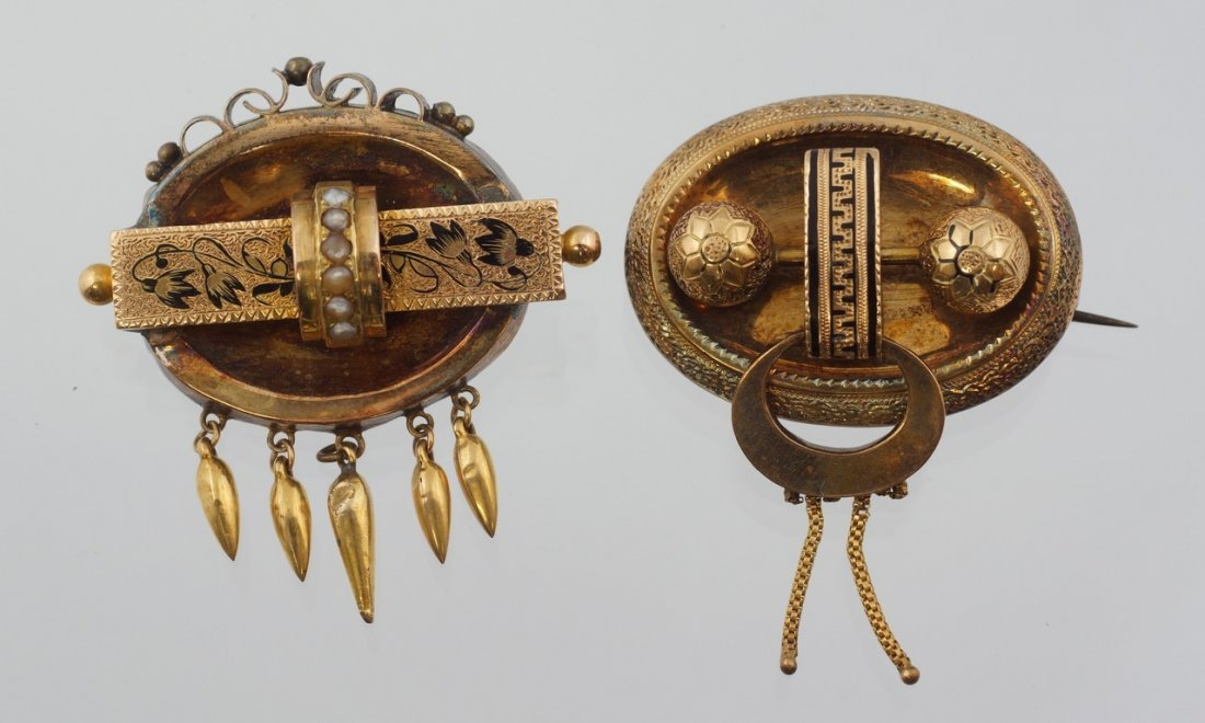 (2) Unmarked YG Etruscan pins with niello design, one