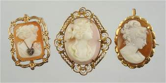 3 YG carved shell cameo pins rectangular bust
