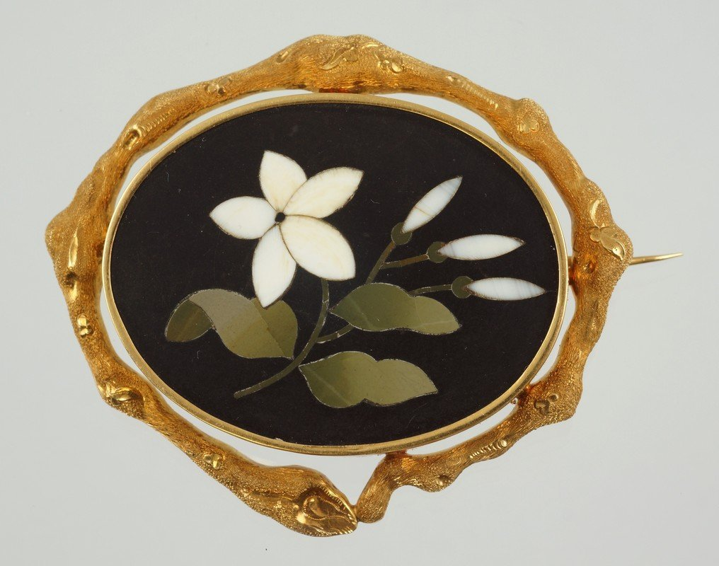 Unmarked YG oval pietra dura floral pin, framed tests