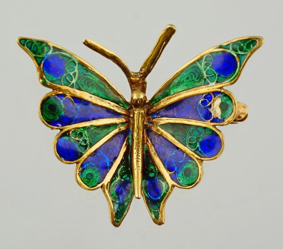 """14K YG enameled butterfly pin, 1 3/8"""" w, 3.5 dwt"""