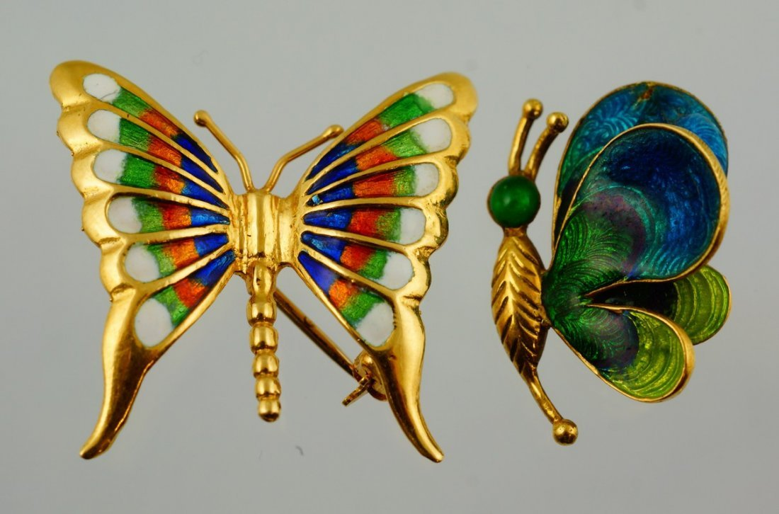 """(2) 18K YG Italy enameled butterfly pins, widest 1/8"""","""