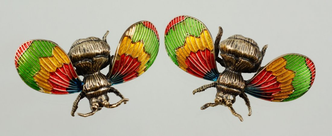 """Pr Beau sterling silver enameled bee pins, 1 5/8"""" w,"""